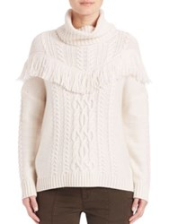 Joie Viviam Cable Knit Turtleneck Fringed Sweater Chalk