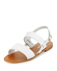 Neiman Marcus Made In Italy Carla Leather Slingback Sandal White