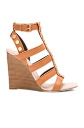 Balenciaga Studded Leather Wedge Sandals In Neutrals
