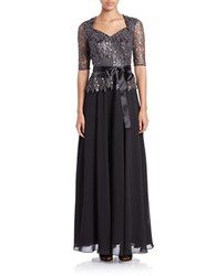 Decode 1.8 Metallic Lace Accented Gown Black Silver