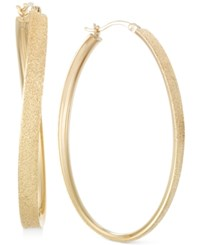 Sis By Simone I Smith Satin Finished Hoop Earrings In 14K Gold Over Sterling Silver