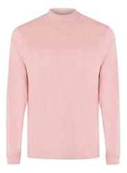 Topman Light Pink Mini Roll Neck Long Sleeve T Shirt Brown