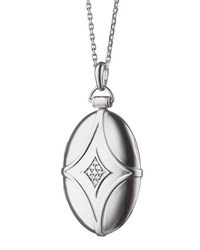 Monica Rich Kosann Silver And White Sapphire Petite Bridal Locket Necklace 32