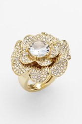 Ariella Collection Pave Flower Cocktail Ring Multi