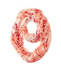 Calvin Klein Mixed Animal Poly Chiffon Loop Coral Reef Scarves Red