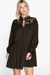 Boohoo Corded Lace Insert Smock Dress Black