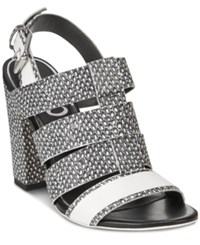 Circus By Sam Edelman Natalie Caged Slingback Dress Sandals Women's Shoes Black White