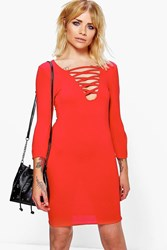 Boohoo Lace Up Bodycon Dress Red