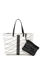 L.A.M.B. Jinger Leather Tote And Pouch White