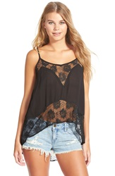 Volcom 'Nowhere Fast' Illusion Lace Camisole Black