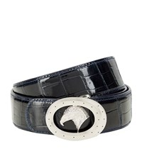 Stefano Ricci Stefano Ricci Eagle Buckle Croc Belt In Navy Blue Unisex