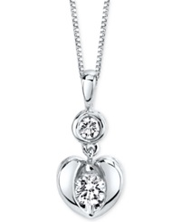 Sirena Diamond Heart Pendant Necklace In 14K White Or Yellow Gold 1 4 Ct. T.W. White Gold