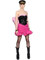 Moschino Bow Faille And Faux Leather Bustier Dress