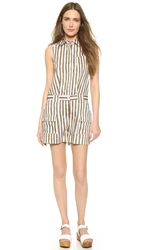 Marc By Marc Jacobs Sketch Stripe Romper New Olive Green Multi