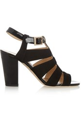 Jimmy Choo Marquee Suede And Patent Leather Sandals Black