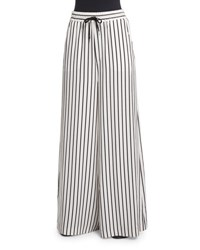 Mcq By Alexander Mcqueen Striped Wide Leg Drawstring Pants Black White White Blackstripe