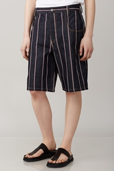 Alexander Wang Denim Striped Baggy Long Shorts Dark Indigo