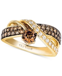 Le Vian Chocolate And White Diamond Crossover Ring In 14K Gold 1 1 4 Ct. T.W. Yellow Gold
