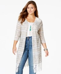 American Rag American Plus Size Rag Printed Lace Detail Cardigan Only At Macy's Glacier Grey