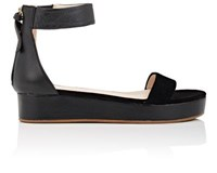 Barneys New York Women's Leather And Suede Platform Ankle Strap Sandals Black