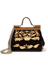 Dolce And Gabbana Sicily Mini Embellished Velvet Metallic Leather Shoulder Bag Black
