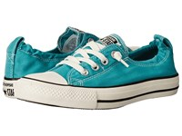 Converse Chuck Taylor All Star Shoreline Washed Canvas Slip Aegean Aqua Egret Black Women's Lace Up Casual Shoes Blue