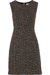 Diane Von Furstenberg Carrie Two Stretch Cady And Boucle Tweed Dress Black