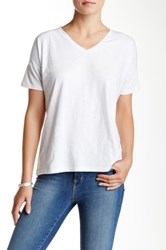 Lilla P Embroidered Slub Short Sleeve V Neck Tee White