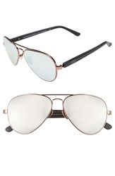 Westward Leaning Women's 'Concorde' 58Mm Aviator Sunglasses Black Shiny Rose Gold Wire Black Shiny Rose Gold Wire