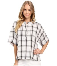 Calvin Klein Jeans Plaid Henley 3 4 Sleeve Shirt Glacier Grey Women's Long Sleeve Button Up Gray