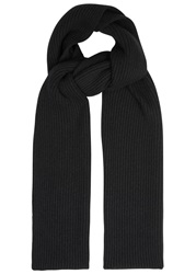 Johnstons Of Elgin Black Ribbed Cashmere Scarf