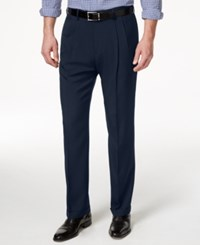 Haggar Classic Fit Eclo Stria Double Pleated Dress Pants Navy