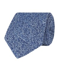 Turnbull And Asser Roses Tie Unisex Blue