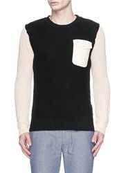 Scotch And Soda Contrast Sleeve Zip Cuff Sweater Black