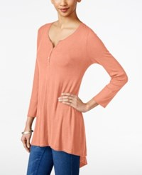 Styleandco. Style And Co. Ribbed High Low Top Only At Macy's Peach Zing