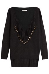 Mes Demoiselles Pullover With Beaded Fringe Black