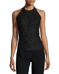 Carmen Marc Valvo Halter Neck Lace Top Black