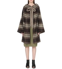 Anglomania Striped Cashmere And Virgin Wool Cape Brown
