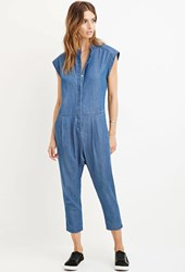 Forever 21 Contemporary Denim Capri Jumpsuit Medium Denim