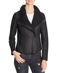 T Tahari Andreas Leather And Knit Jacket Black