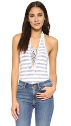 Re Named Lace Up Stripe Bodysuit White Navy