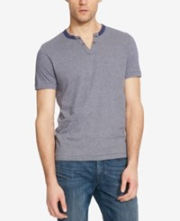 Kenneth Cole Reaction Men's Stripe Split Neck T Shirt Midnight River