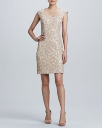 Sue Wong Sequined Embroidered Cocktail Dress Women's