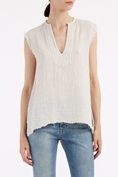 Raquel Allegra Dirty White Gauze Tunic Top