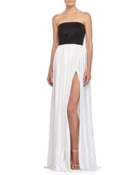 Black Halo Pleated Strapless Gown Black White