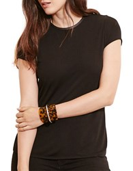 Lauren Ralph Lauren Plus Faux Leather Trim Jersey Tee Black