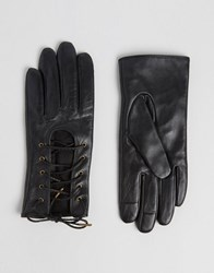 Asos Leather Lace Up Gloves With Touch Screen Black
