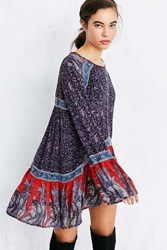 Ecote Namirah Patterned Bell Sleeve Tunic Top Black Multi