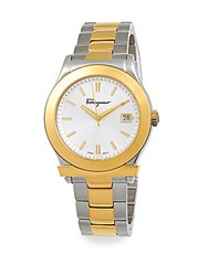 Salvatore Ferragamo Two Tone Stainless Steel Watch Gold Silver