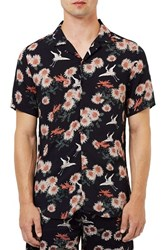 Topman Men's Floral Print Revere Collar Short Sleeve Shirt